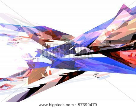3D illustration of abstract with multiple colored shapes