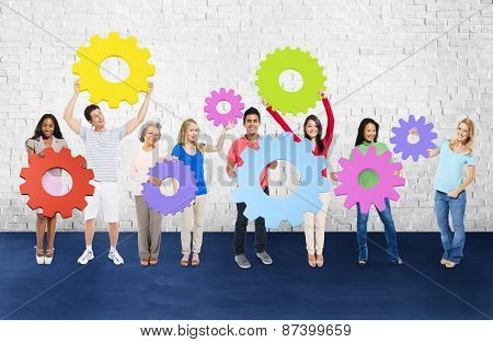 DIversity People Holding Cog Collaboration Cheerful Concept