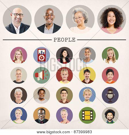 Faces People Diversity Community Portrait Concept