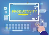 image of productivity  - Productivity loading on a touchscreen computer concept - JPG