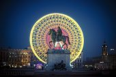 picture of king  - Famous Place Bellecour statue of King Louis XIV by night Lyon France - JPG