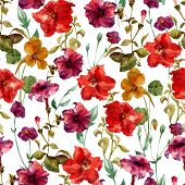 picture of petunia  - Beautiful vector pattern with nice petunia flowers - JPG