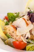 picture of caesar salad  - tasty fresh caesar salad with grilled chicken parmesan and croutons - JPG