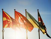 stock photo of macedonia  - Macedonia Flag Turkey Flag Ukraine Flag and United Kingdom Flag on a blue clear sky in Strasbourg France  - JPG