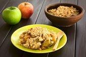 image of crisps  - Freshly baked apple crumble or crisp served on plate with wooden spoon fresh apples and a rustic bowl of apple crumble in the back photographed on dark wood with natural light  - JPG