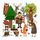 image of hunter  - Forest animals and hunter - JPG