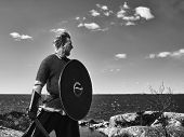 stock photo of viking  - Medieval viking warrior wearing chainmail he has the sword and the shield north nature on background black and white image - JPG
