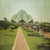 stock photo of won  - The Lotus Temple is located in New Delhi - JPG