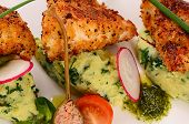 image of mashed potatoes  - The fish in breadcrumbs with mashed potatoes - JPG