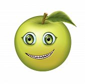 pic of crooked teeth  - Green apple with kind eyes and a surprised look - JPG
