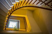 stock photo of spiral staircase  - The Upside view of a spiral staircase - JPG