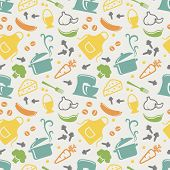 image of pastel colors  - Food and kitchen seamless pattern in blue yellow orange green purple and grey pastel colors - JPG