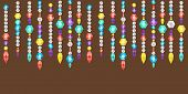 stock photo of gem  - Vector banner decorative garland from gems crystals and deamonds gems on a string - JPG