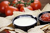 image of dipping  - Queso Blanco or White Cheese Sauce with corn tortilla chips salsa and fresh tomatoes - JPG