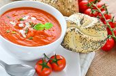 foto of bread rolls  - Fresh made thick tomato soup with freshly baked crusty bread rolls and ripe on the vine tomatoes - JPG