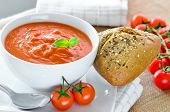 pic of bread rolls  - Fresh Tomato Soup And Fresh Baked Crusty Bread Rolls - JPG