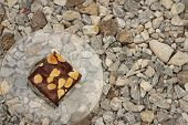 image of brownie  - Brownies in a plate on the background of the stone - JPG