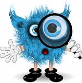 picture of tooth-fairy  - illustration fairy shaggy blue monster with a magnifying glass - JPG