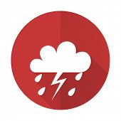stock photo of storms  - storm red flat icon waether forecast sign - JPG