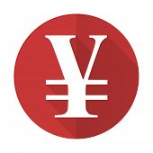 picture of yen  - yen red flat icon 