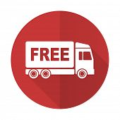 foto of free-trade  - free delivery red flat icon transport sign  - JPG