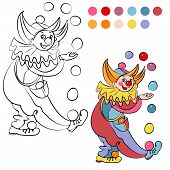 stock photo of clowns  - Coloring book with cheerful clown   - JPG