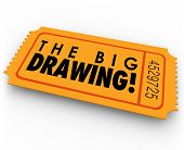 stock photo of word charity  - The Big Drawing words on an orange raffle or contest ticket for picking the lucky winner in a fundraiser or charity money event - JPG