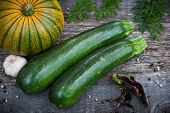 stock photo of potassium  - Fresh Organic Gardening Vegetables closeup on wooden board - JPG