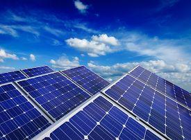 foto of solar battery  - Solar power generation technology - JPG
