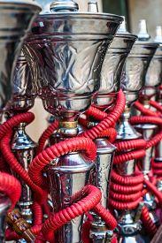 stock photo of shisha  - traditional arabic shisha pipes hookah - JPG