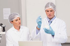 pic of beaker  - Scientists working attentively with beaker in laboratory - JPG
