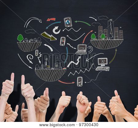 Group of hands giving thumbs up against blackboard