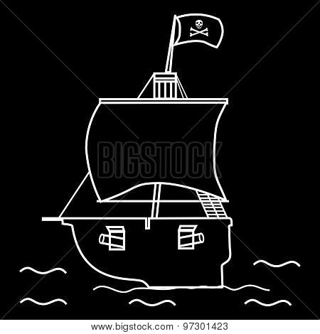 Pirate ship sailboat flag with a skull and crossbones