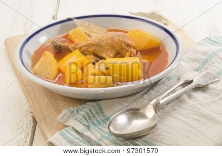 Hungarian Potato Soup With Chicken Drumstick