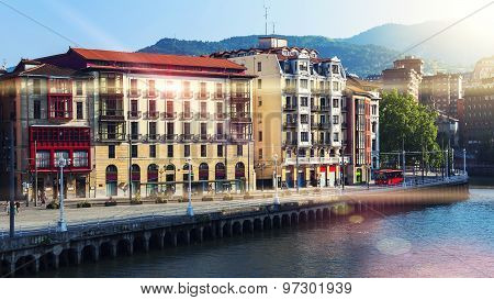 Bilbao City Downtown With A Nevion River In Spain