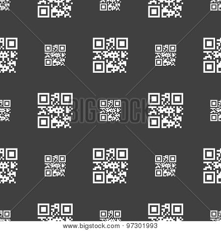 Qr Code Icon Sign. Seamless Pattern On A Gray Background. Vector