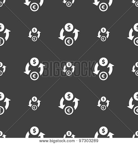 Currency Exchange Icon Sign. Seamless Pattern On A Gray Background. Vector