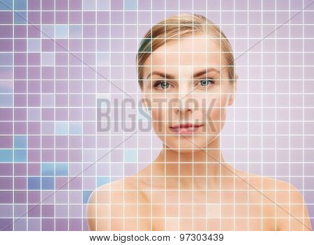 beauty, people and health concept - beautiful young woman with bare shoulders over violet background with squared grid