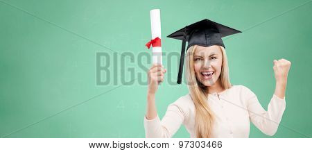 education, high school, knowledge, graduation and people concept - happy student girl or woman in trencher cap with diploma certificate over green chalk board background