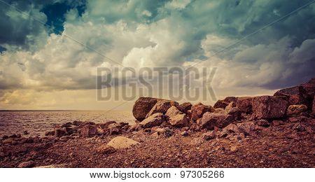 rocky beach on a summer evening