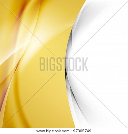 Golden Smooth Swoosh Wave Abstract Border