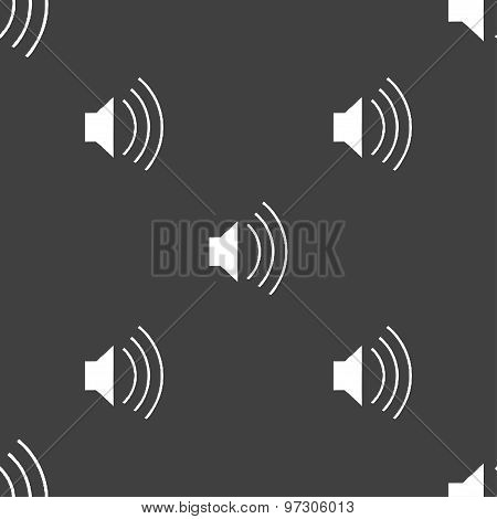 Volume, Sound  Icon Sign. Seamless Pattern On A Gray Background. Vector