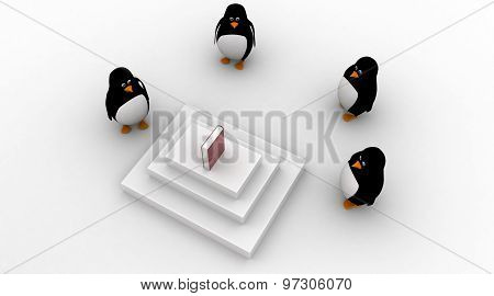3D Penguins Stand Around Honourable Book Concept