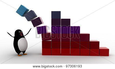 3D Penguin Standing Under Falling Bar Graph Of Cubes Concept