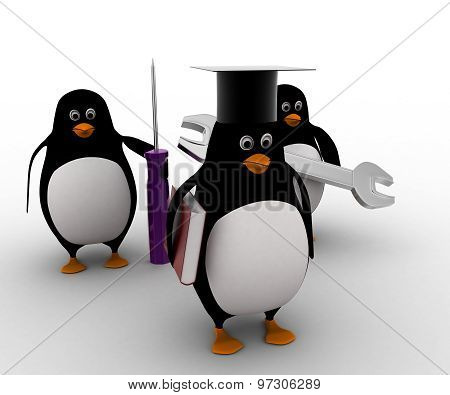 3D Penguin Mechanical Graduate With Wrench And Screw Driver Concept