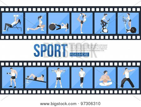 Film strips and training people icons set for sport and fitness infographics, presentation templates