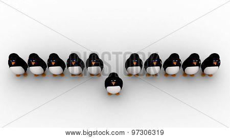 3D One Penguin Come Forward Line Of Penguins Concept