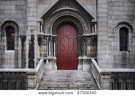 Door ,basilique Du Sacre Coeur In Paris, France