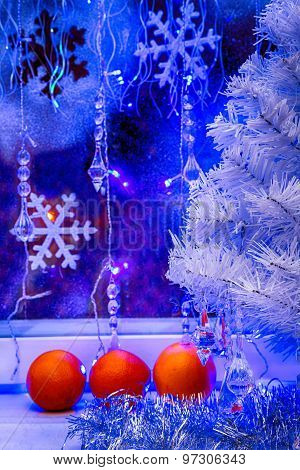 Christmas Tree, Tangerine Wallpaper.