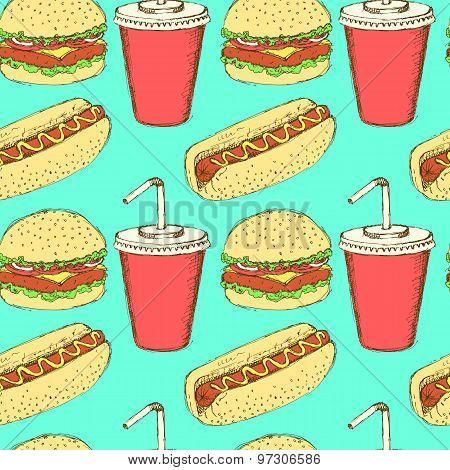 Sketch Soda, Hamburger And Hot-dog In Vintage Style